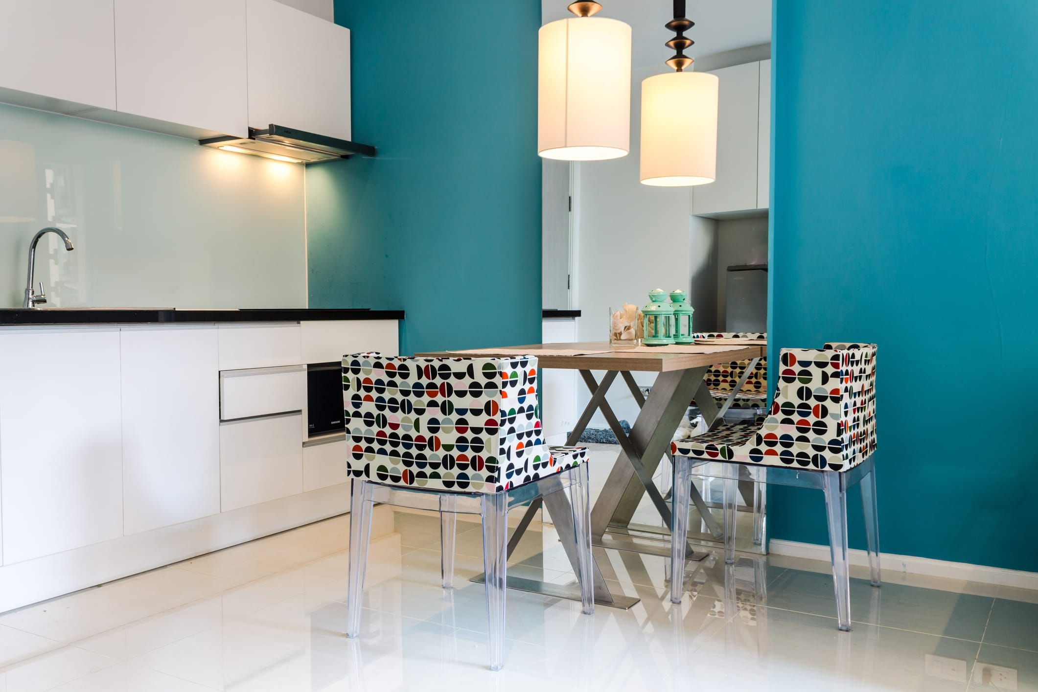 small dining room ideas bright coloured wall for small rooms