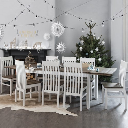 white, 8-seater dining table