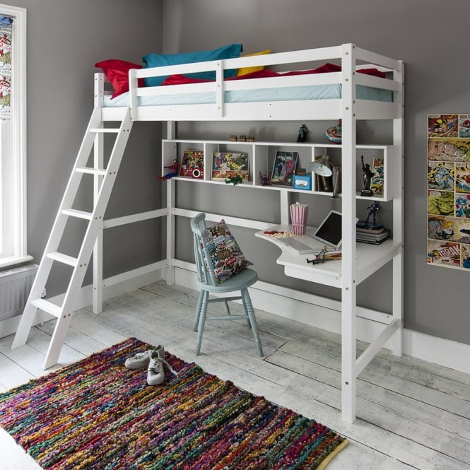 High sleeper cabin bed with ladder and desk