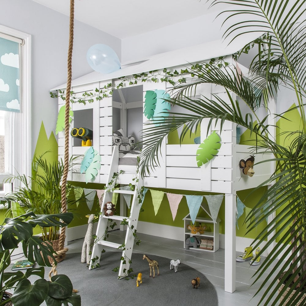 jungle-themed tree house, midsleeper cabin bed