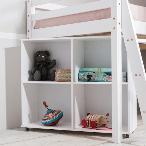 Square-shaped storage shelves