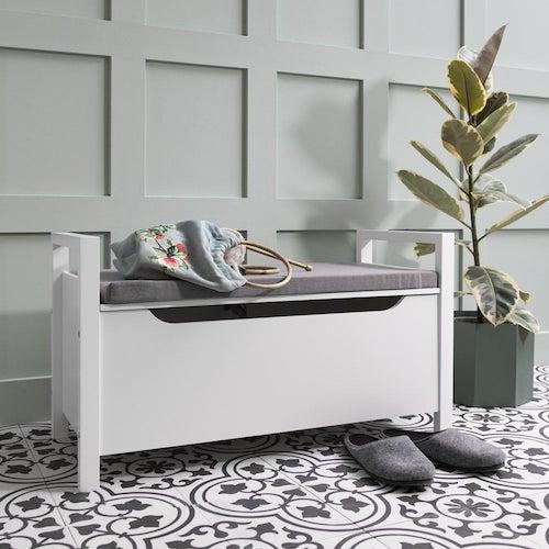 Cushion-seated, white storage box