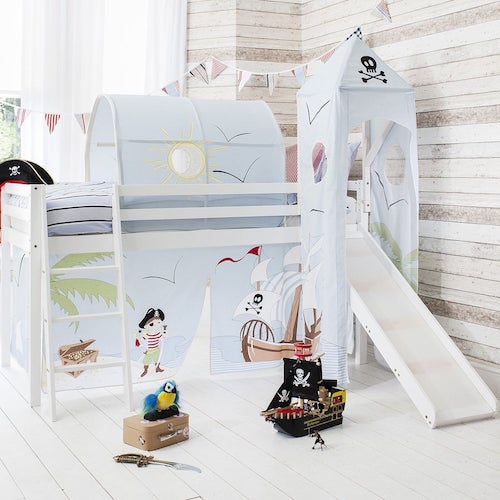 Pirate-themed, light coloured midsleeper cabin bed with ladder and slide