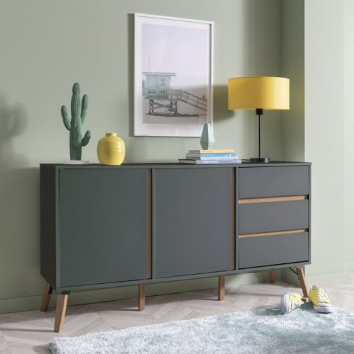 Grey coloured, retro style sideboard