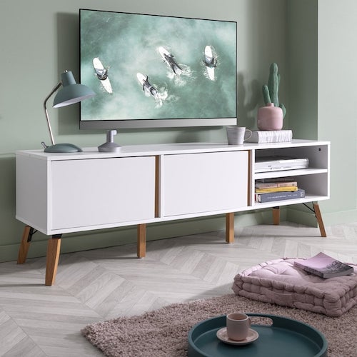 White, retro-style TV unit