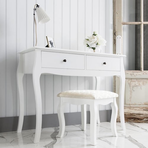 White dressing table with matching stool