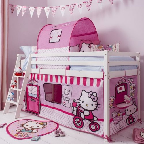 Hello Kitty midsleeper cabin bed with ladder, tent and tunnel