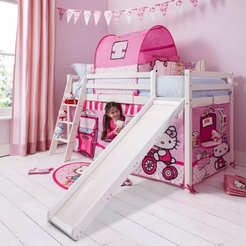 Hello Kitty themed cabin bed with ladder and slide