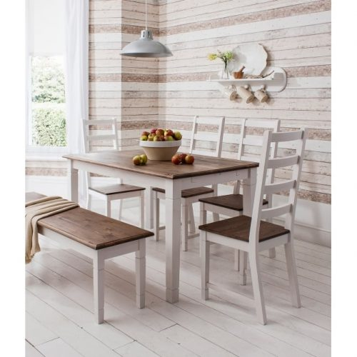 White, 6-seater dining table with bench