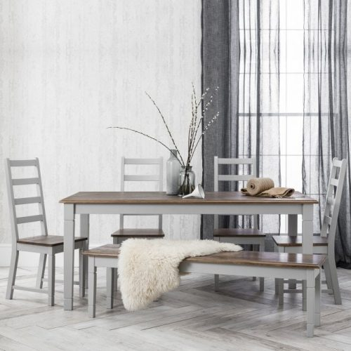 Grey, 6 seater dining table with bench