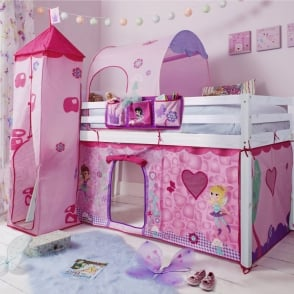 Fairies Cabin Bed with  Tent,Tower, Tunnel & Bed Tidy in  Design