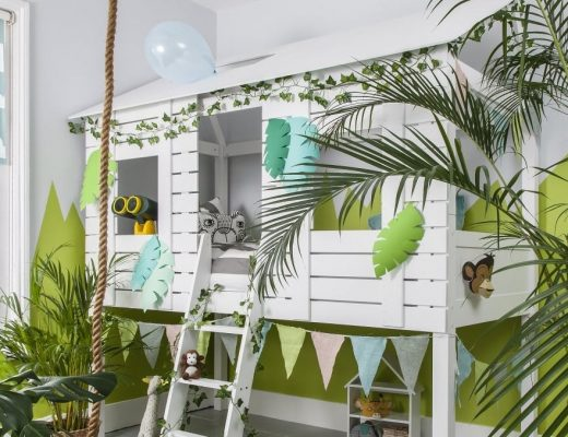 jungle themed bedroom ideas white jungle themed cabin bed with ladder and jungle plants