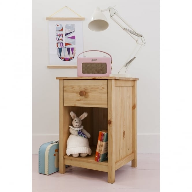 1 Drawer Bedside Cabinet Arla in Natural Pine