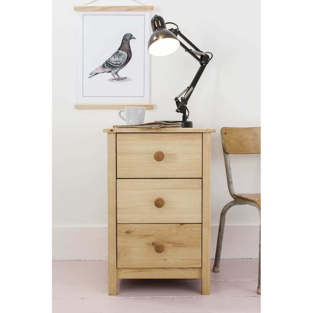 3 Drawer Arla Bedside Cabinet In Natural Pine Noa Nani