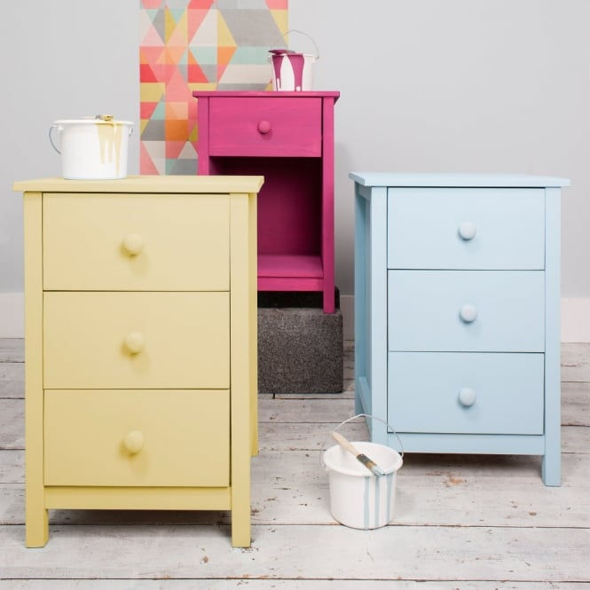3 Drawer Chest of Drawers Bedside Cabinet Arla in Raw Unpainted
