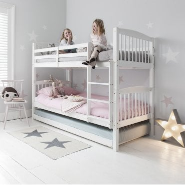 Anders Triple Bunk Bed with 3 Single Beds in White