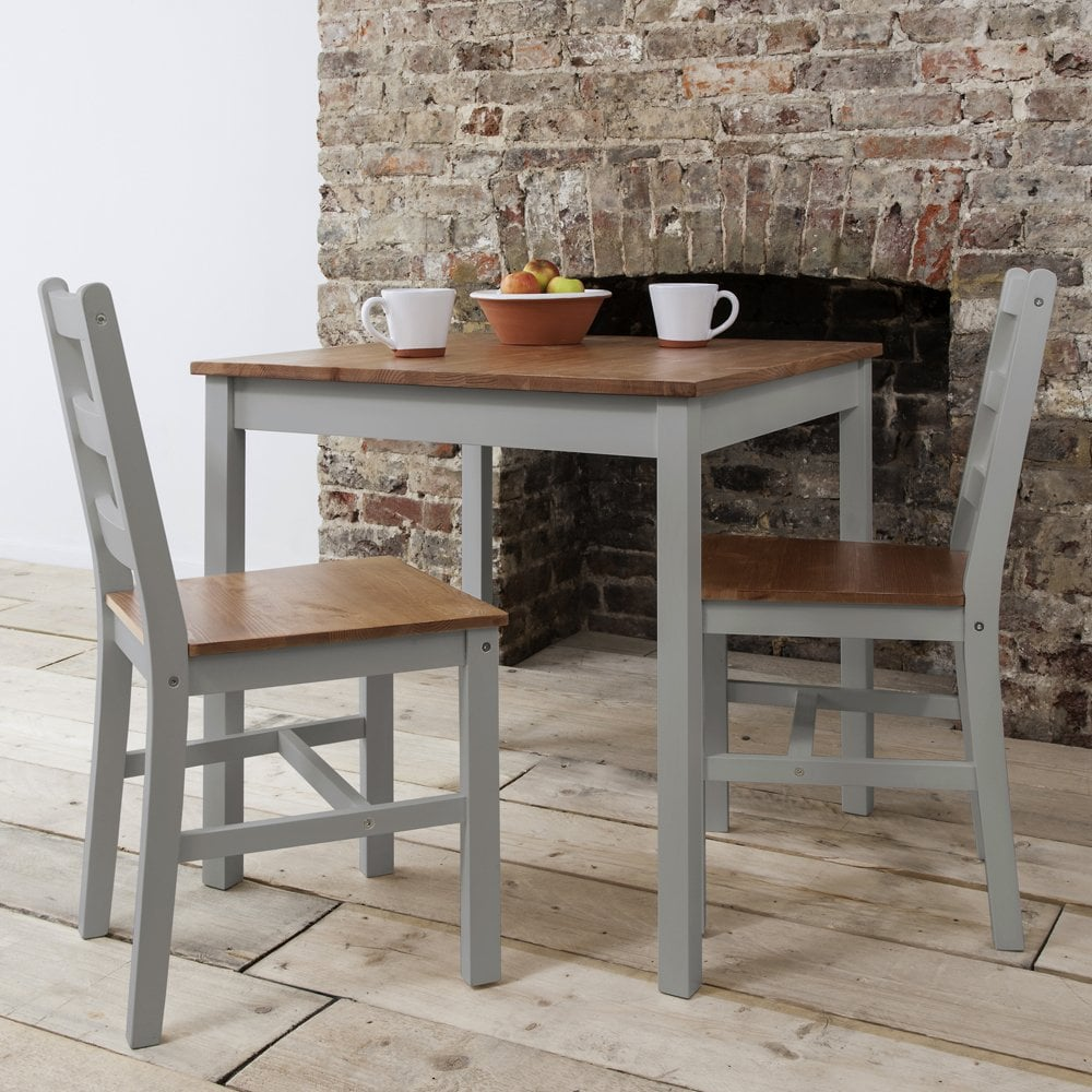 Annika Bistro Set Table with 12 Chairs in Grey and Natural Pine