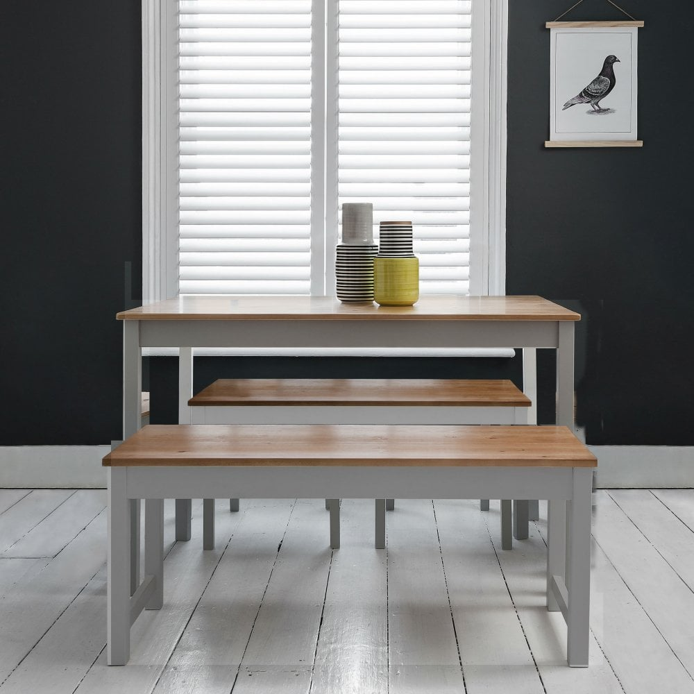 Annika Dining Table With 2 Benches In Silk Grey Amp Natural