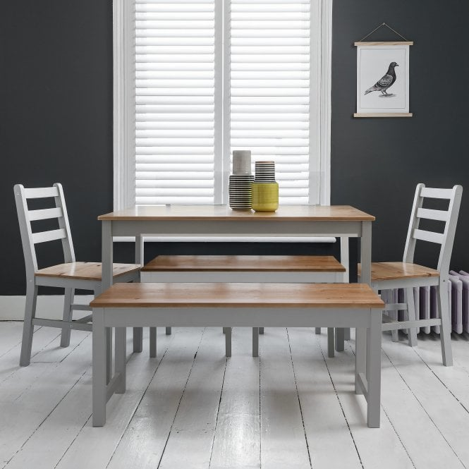 Annika Dining Table with 2 Chairs & 2 Benches in Silk Grey & Pine