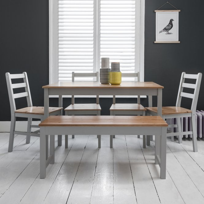 Annika Dining Table with 4 Chairs & Bench in Silk Grey & Pine