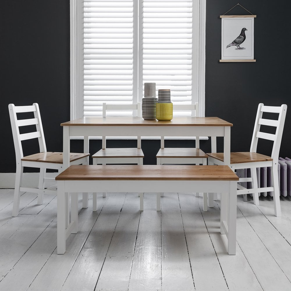 Annika dining table with 4 chairs bench in white