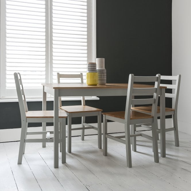 Annika Dining Table with 4 Chairs in Silk Grey & Pine