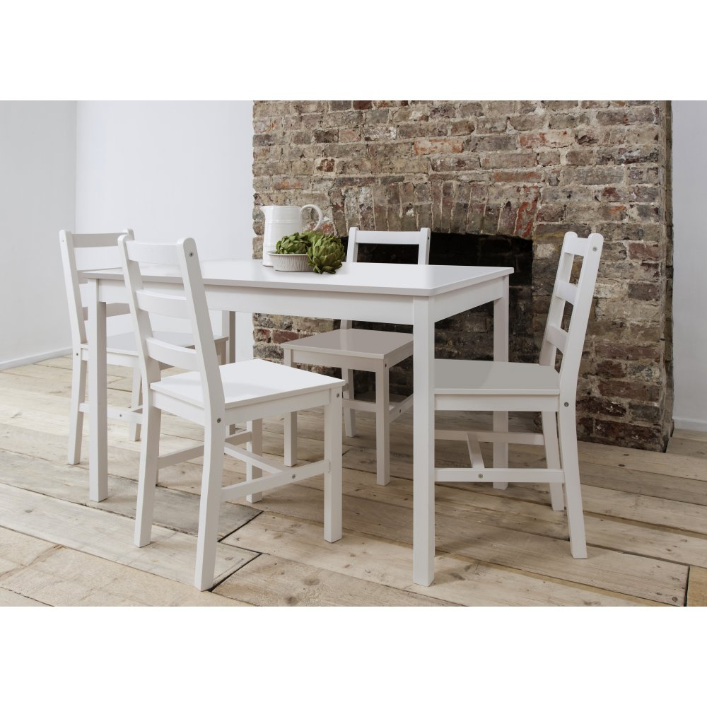 annika dining table with 4 chairs in white noa nani