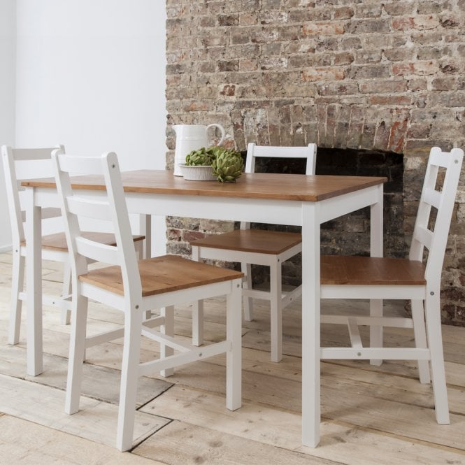 Annika Dining Table with 4 Chairs Natural & White