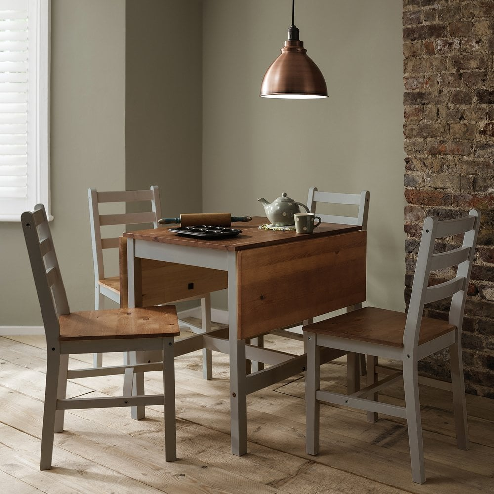 Awe Inspiring Annika Dropleaf Dining Table With 4 Chairs In Silk Grey Natural Pine Download Free Architecture Designs Viewormadebymaigaardcom