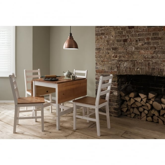 Annika Dropleaf Dining Table with 4 Chairs Natural & White