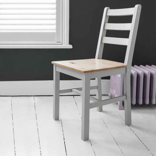 Annika Pair of Dining Chairs in Silk Grey & Pine