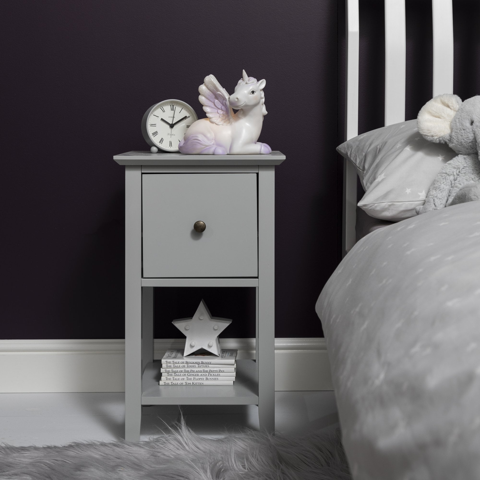 Asora Bedside Table with Drawer in Silk Grey or Classic White