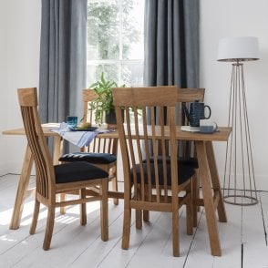 Bosham Dining Set Solid Oak with 4 Chairs charcoal upholstery