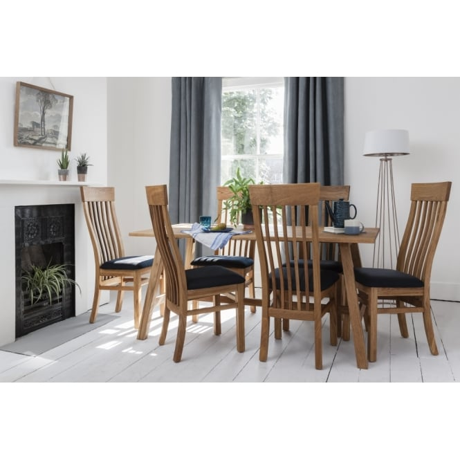 Bosham Dining Set Solid Oak with 6 Chairs Charcoal upholstery