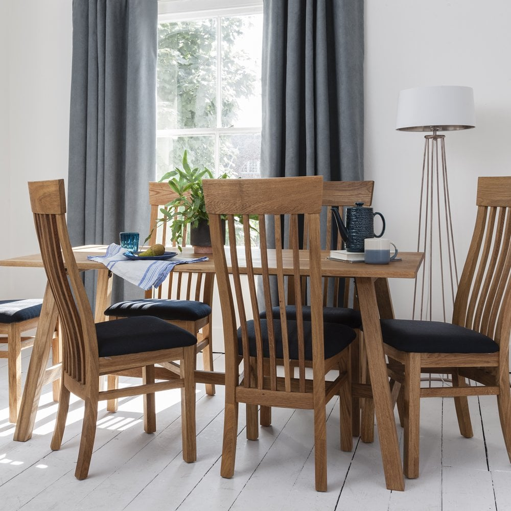 Swell Bosham Dining Set Solid Oak With 6 Chairs Charcoal Upholstery Squirreltailoven Fun Painted Chair Ideas Images Squirreltailovenorg