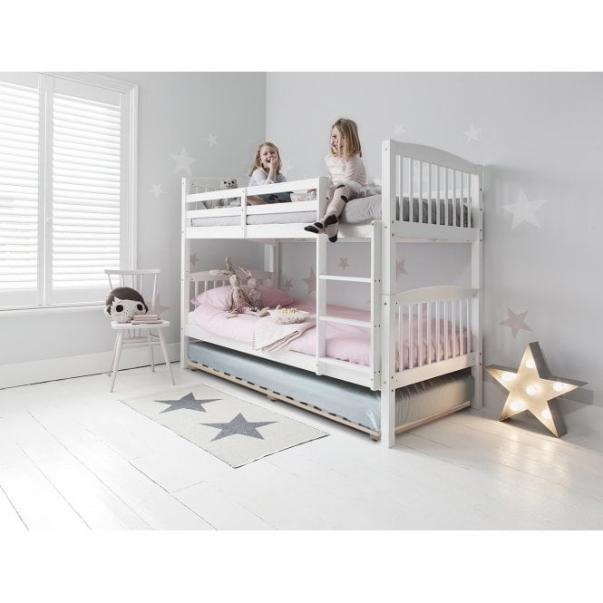 Brighton Triple Bunk Bed with 3 Single Beds in White