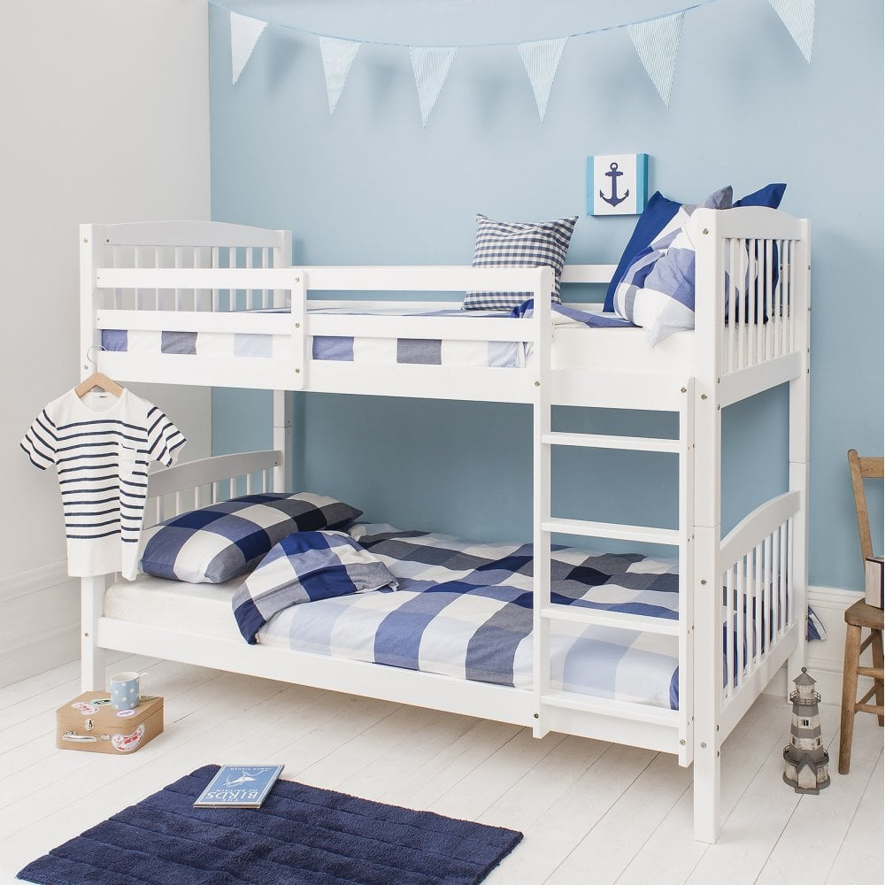 Single bed standard dimensions - Brighton White Bunk Bed With 2 Single Beds