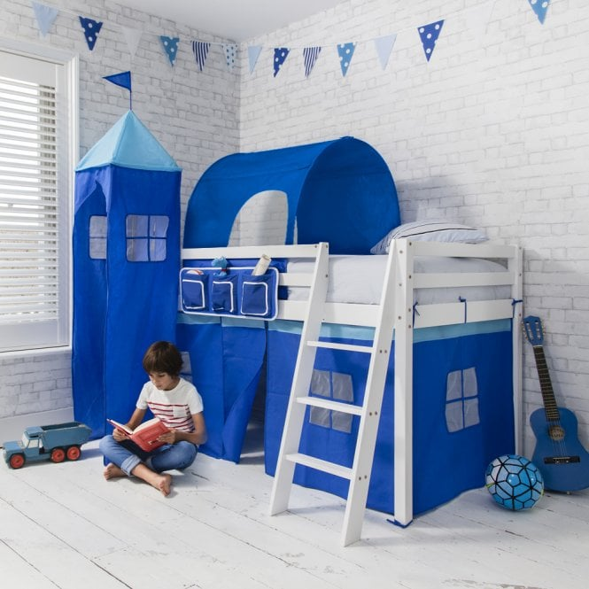 Brilliant Blue Cabin Bed Midsleeper in Blue with Tent, Tunnel and Tower