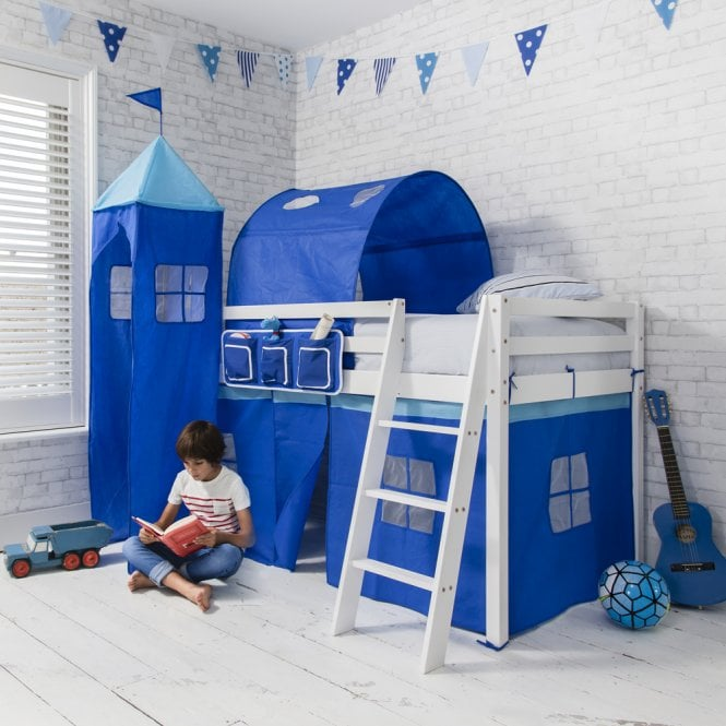 Brilliant Blue Cabin Bed Midsleeper in Blue with Tent, Tunnel, Tower and Pocket