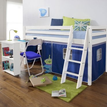 Cabin Bed with Desk and Tent in Blue