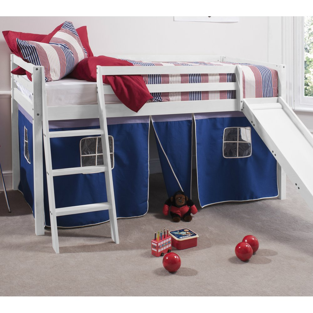 Brilliant blue cabin bed with slide and tent in brilliant blue design