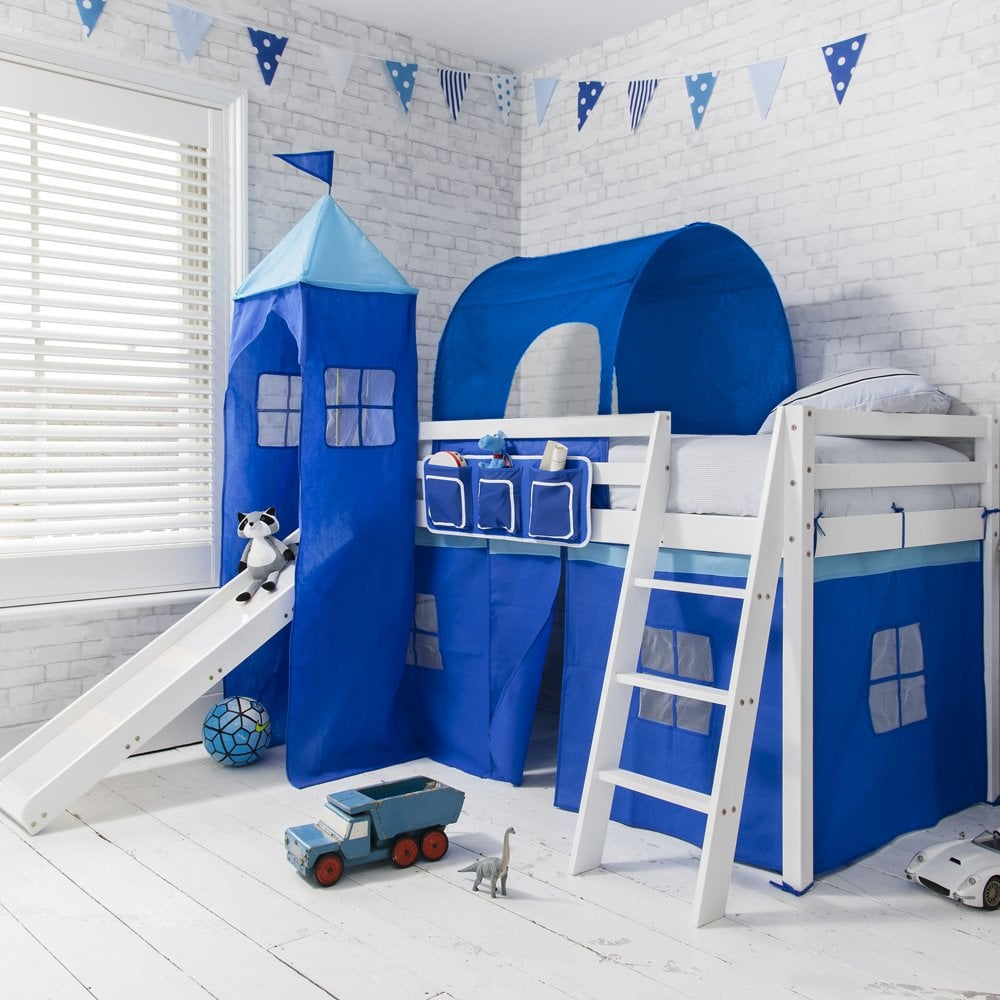Cabin beds spiderman spiderman cabin bed with slide - Cabin Bed With Slide In Blue With Tent Tower Amp