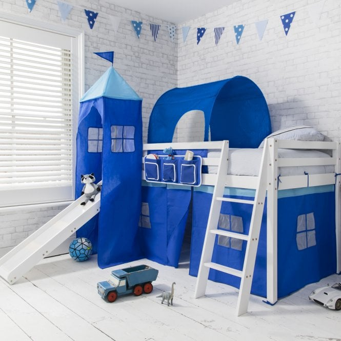 Brilliant Blue Cabin Bed with Slide in Blue with Tent, Tower & Tunnel