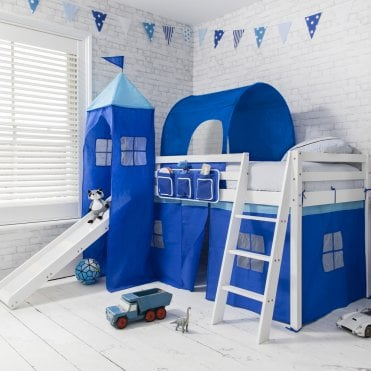 Cabin Bed with Slide in Blue with Tent, Tower & Tunnel