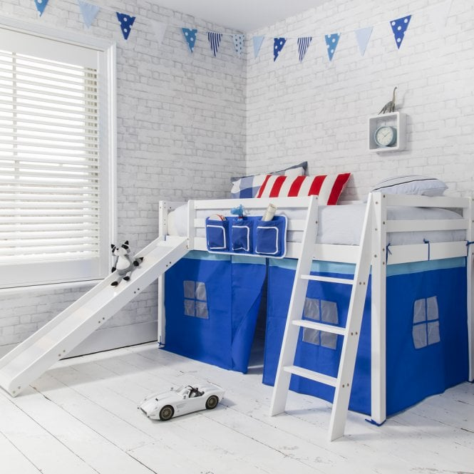 Brilliant Blue Oskar Midsleeper Shorty Cabin Bed in Blue with Slide