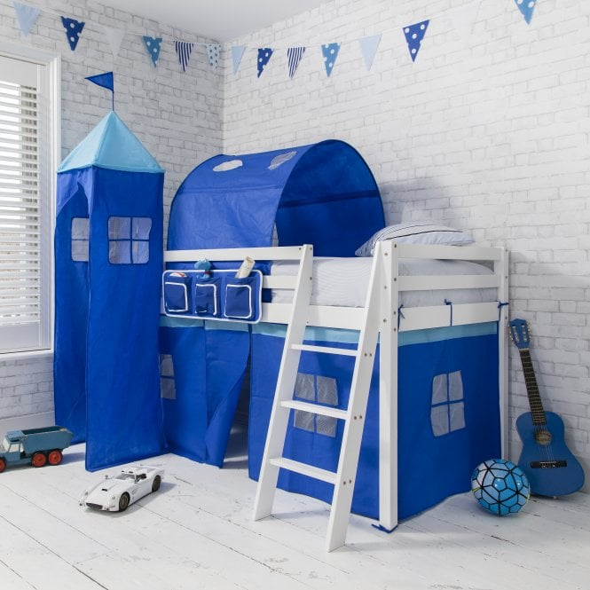 Brilliant Blue Tent, Tower, Tunnel & Bed Tidy for Midsleeper Cabin Bed in Blue