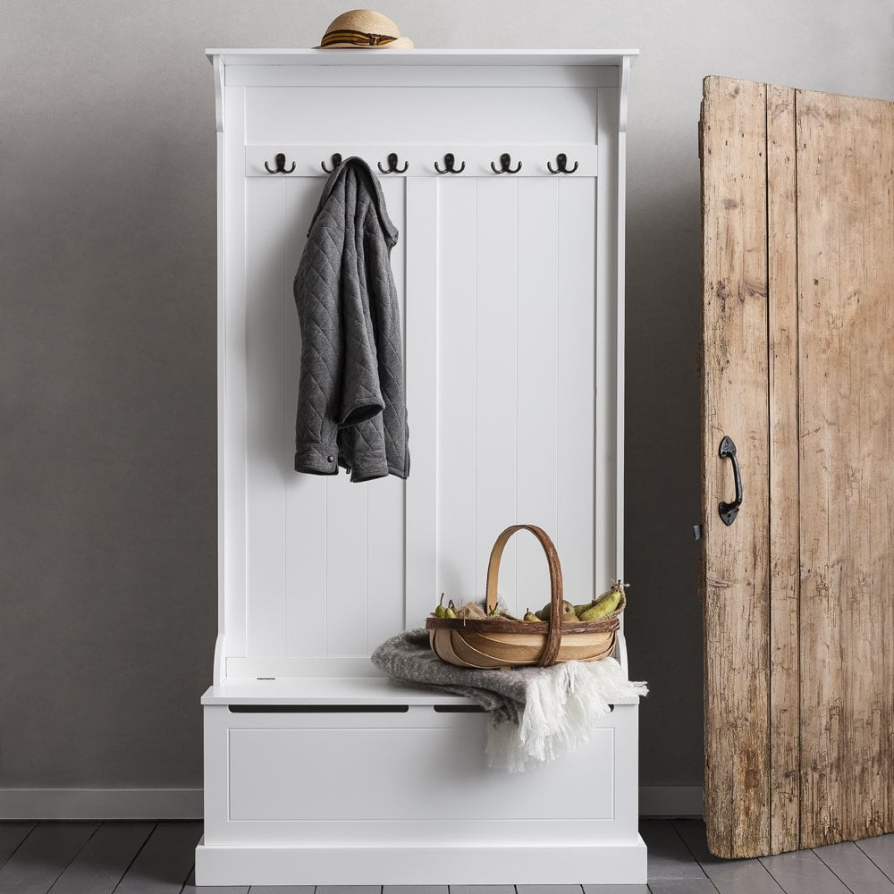 Gentil Brittany Hallway Bench And Coat Hook Shoe Storage In White