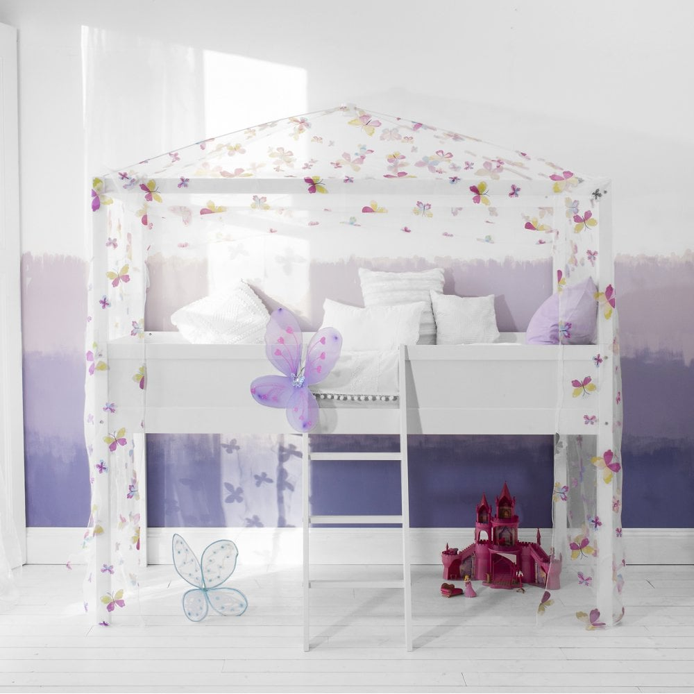 Butterflies Mid sleeper Cabin Bed 4 Poster Canopy Frame and Tent in ...