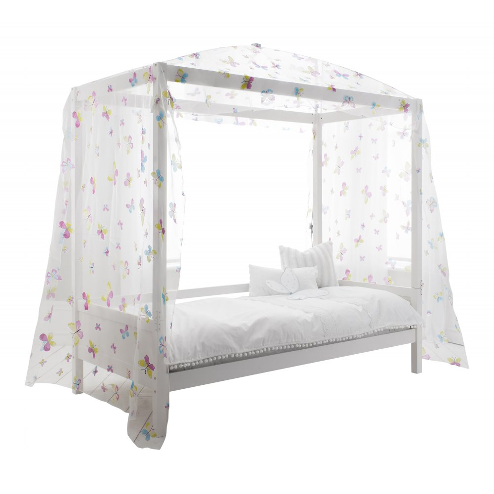 4 Poster Double Bed Part - 22: Single Bed With Four Post Butterfly Canopy