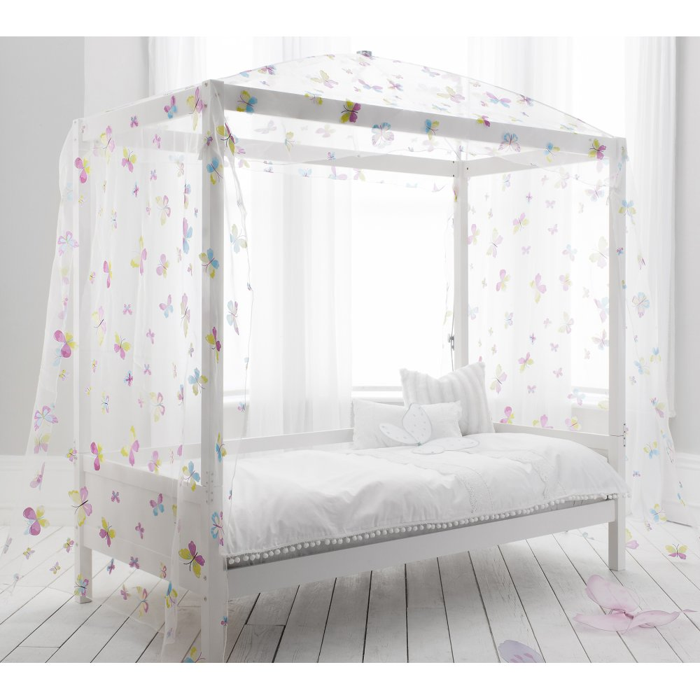 Single Bed With Four Poster Butterfly Canopy